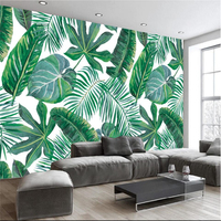 Beibehang European Hand Painted Tropical Rain Forest Banana Leaf TV Background Wall Custom Large Mural Green