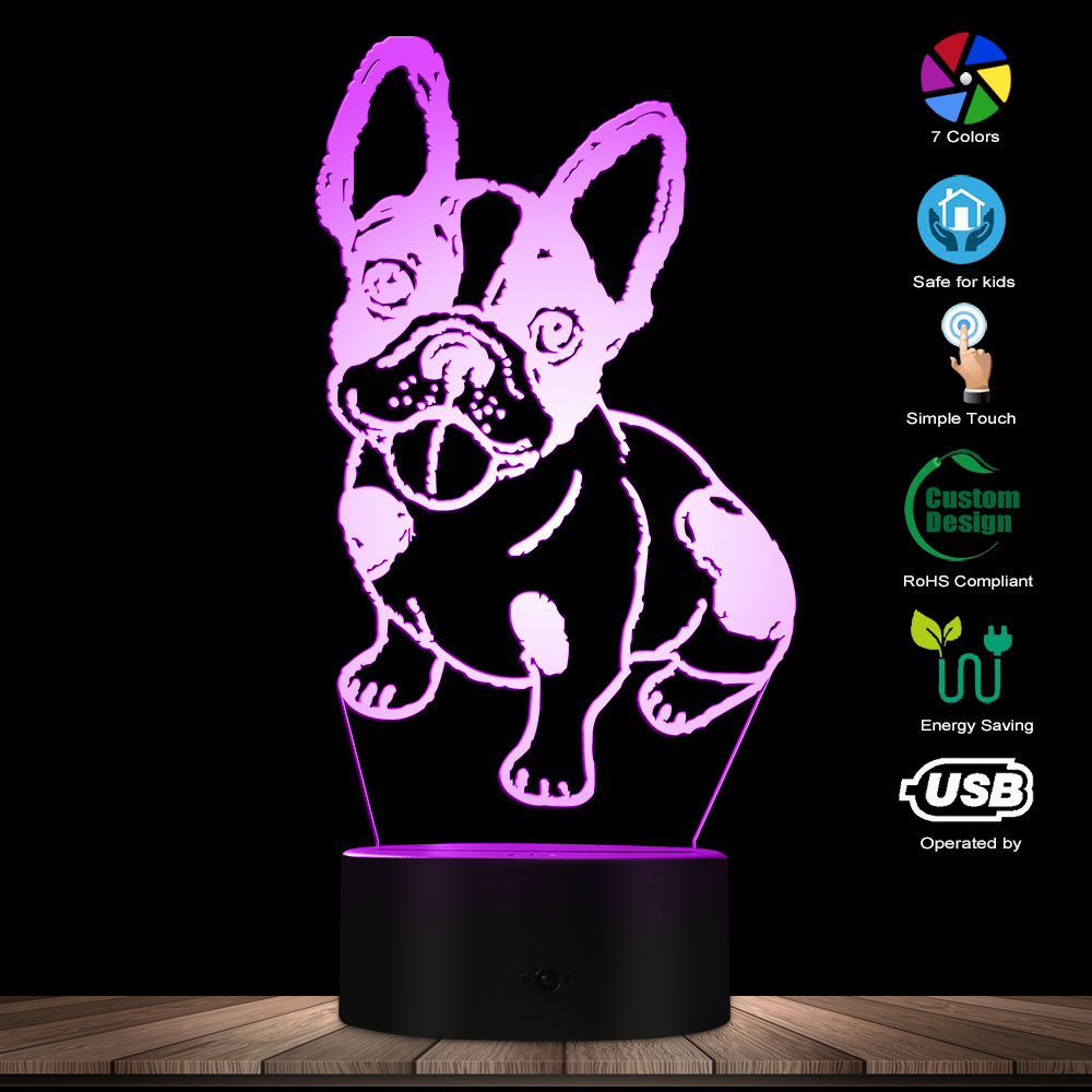 3D Effect Muscular French Bulldog Handmade Illusion Night Light Personality Design Custom Name Table Lamp French Bulldog Club