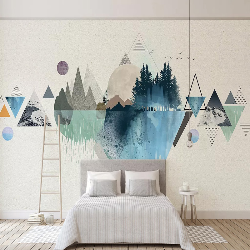 Modern Abstract Geometric Art Wallpaper 3D Hand Painted Creative Wall Painting Living Room Bedroom Self-Adhesive Waterproof 3 D