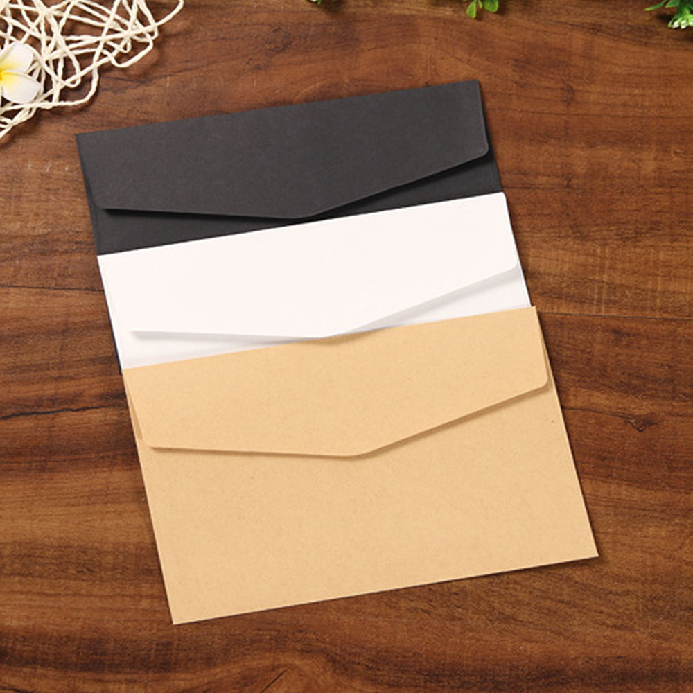 50pcs/lot Black White Craft Paper Envelopes Vintage European Style Envelope For Card Scrapbooking Gift P0