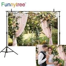 Funnytree photophone arka planında doğa pembe perde ışık gül açık park düğün photocall arka plan duvar kağıdı fotoğraf stüdyosu