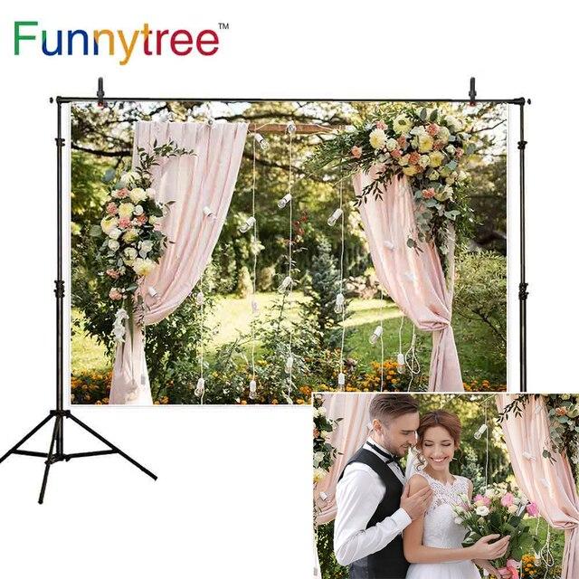 Funnytree photophone الخلفيات الطبيعة الوردي ستار مصابيح الورد في الهواء الطلق حديقة الزفاف فوتوكلوس خلفية خلفية استوديو الصور