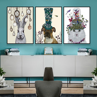 3Pcs Colourful Animal Modren Oil Painting Printed Canvas Wall Art Home Decor Wall Art Picture