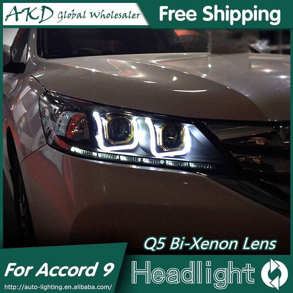 Akd car styling for honda accord headlights 2014 2015 new accord 9 led headlight led