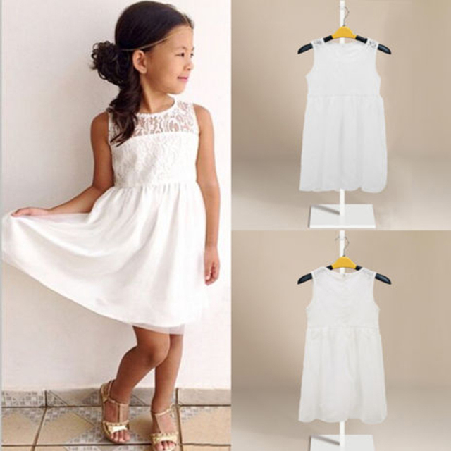 Summer Kids Baby Girl Lace Floral Formal Party Dress Chiffon Sundress Dress