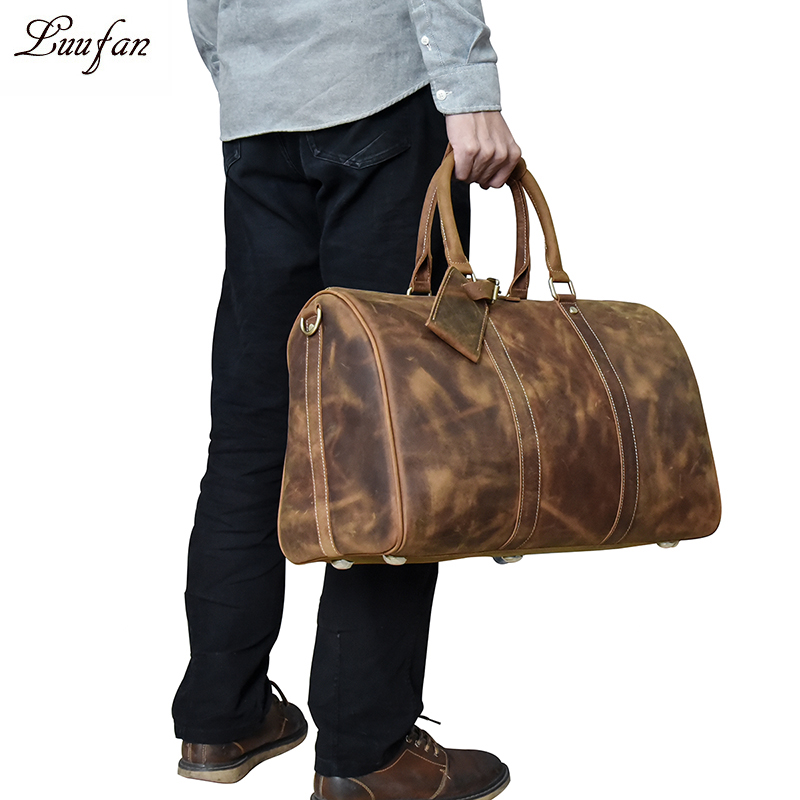 Men s Vintage Crazy horse leather travel duffel 18 Brown genuine leather travel bag Durable cow