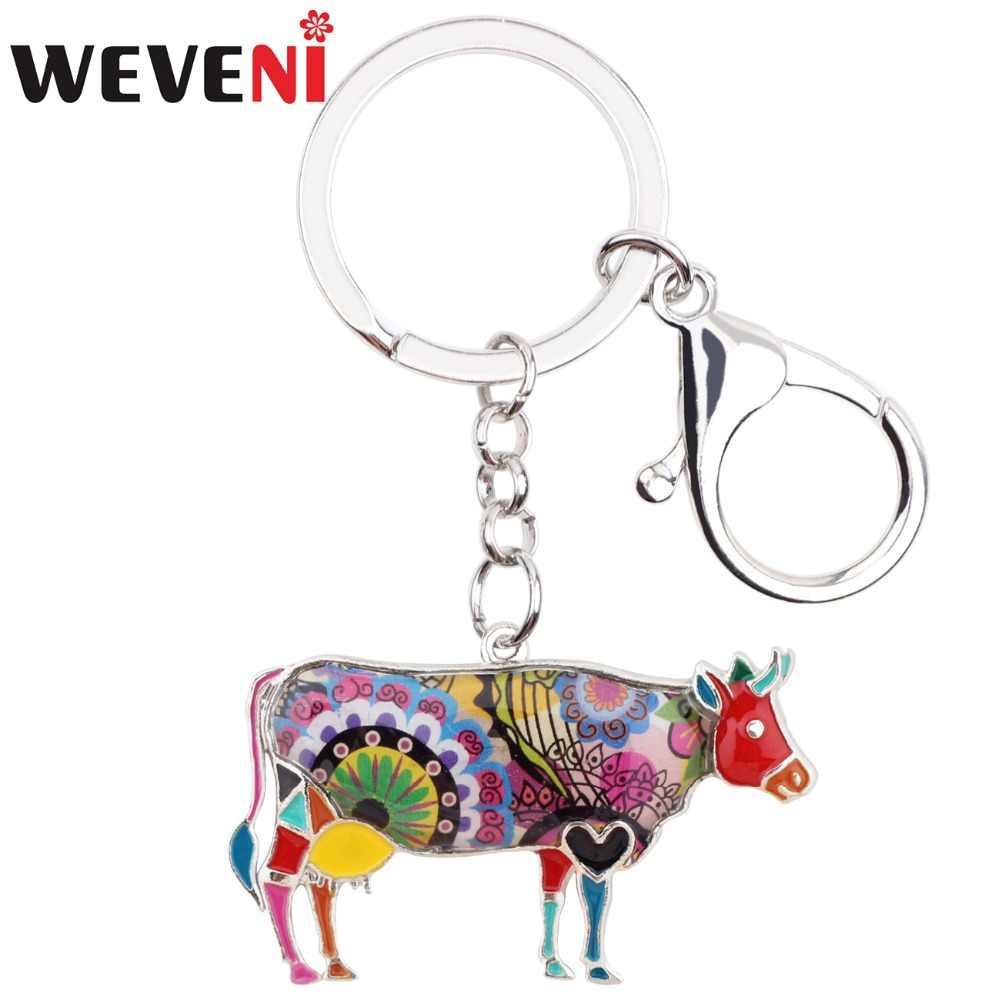 WEVENI เคลือบโลหะดอกไม้วัว Bull Key Chain แหวน Keychain เครื่องประดับสำหรับหญิงหญิงวัยรุ่นพวงกุญแจรถฟาร์มสัตว์ bijoux