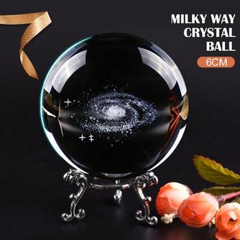 Glass Ball Crystal Bal Globe Galaxy Laser Engraved Quartz Ball Home Decor Craft Sphere Creative 3D Gift Planets Model Miniature tote bag