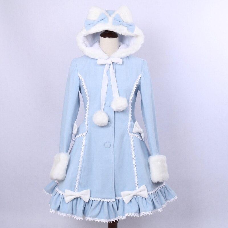 Women's 2018 Winter Single Breasted Coat Lovely Cat Ear Lolita Hooded Light Blue Faux Fur Coat for Girl