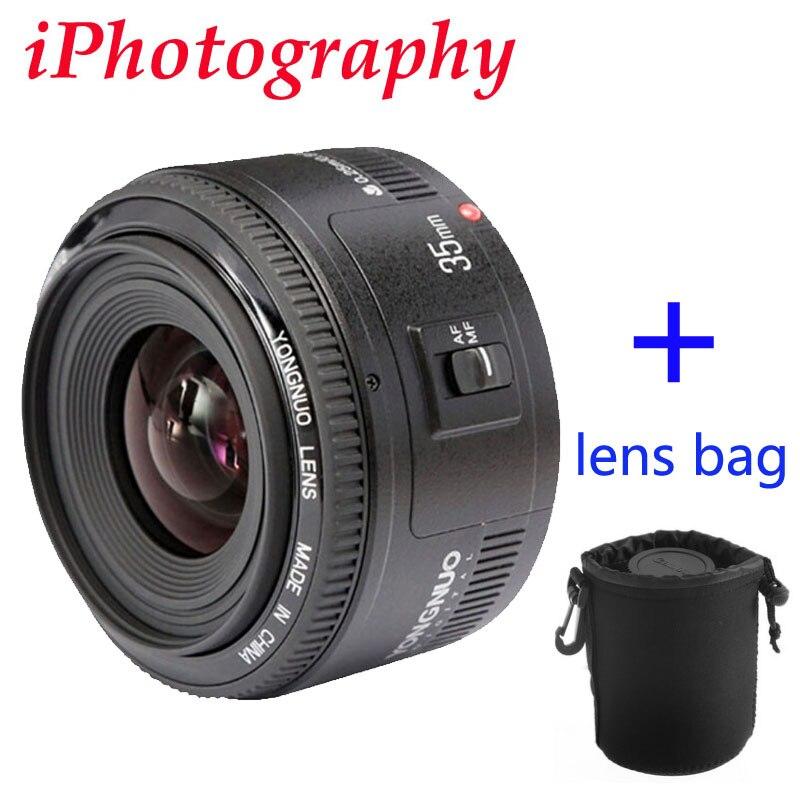 Prix pour Yongnuo 35mm lentille YN35mm F2 objectif Grand-angle Grand Ouverture Fixe Auto Focus Lens Pour canon EF Mont EOS Caméra peut être choisir sac