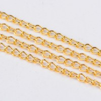 Pandahall 100m 5x3x0.8mm Golden Reel Unwelded Iron Twist Chains, Lead Free & Nickel Free