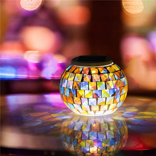 Solar Powered Mosaic Glass Ball Garden Lights, Color Changing Solar Table Lamps, Solar Outdoor Lights for Parties Decorations