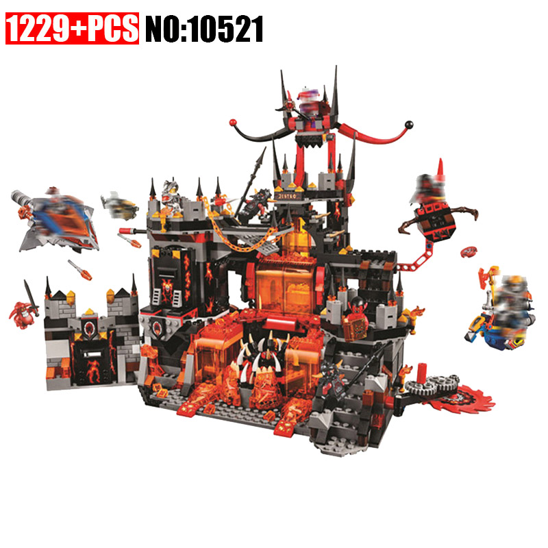 Compatible with 70323 nexoe knights 10521 1237Pcs Jestro Volcano Lair Figure building blocks bricks toys for children 14019 nexoe knights volcano lair castle model building kits compatible with lego city 3d blocks educational toys