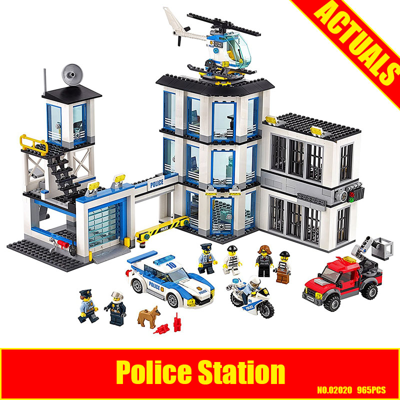 Lepin 02020 965Pcs City Series The New Police Station Set Children Educational Building Blocks Bricks Boy Toys Model Gift 60141 lepin 02006 815pcs city police series the prison island set building blocks bricks educational toys for children gift legoings