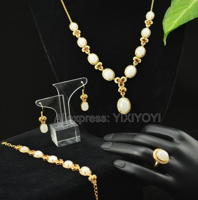 925 Silver Natural White HeTian Jade Beads Inlay Gem Stone Lucky Pendant Necklace Bracelet Earring Ring Fine Woman's Jewelry Set wholesale price 16new ^^^^ewellery green stone inlay zircon earring pendant ring sets