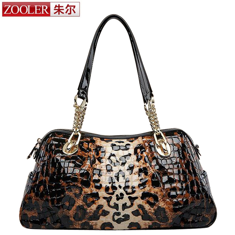 ZOOLER Luxury Leopard Purses and Handbags Women Designer Shoulder Bags High Quality Genuine Leather Bag Famous Brand sac a main chispaulo women genuine leather handbags cowhide patent famous brands designer handbags high quality tote bag bolsa tassel c165