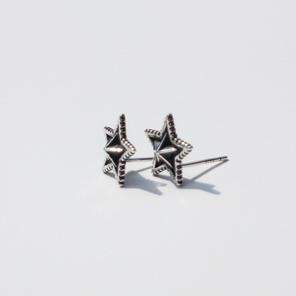 925 sterling silver earrings personality big star earrings retro stud earrings men women boys girls silver ear jewelry