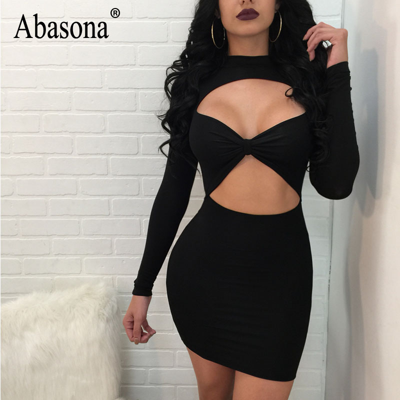 Abasona Sexy Women Dresses Spring Autumn Long Sleeve Cut Out Dress Party Club Wear Bodycon Pencil Drss Plus Size Female Robe