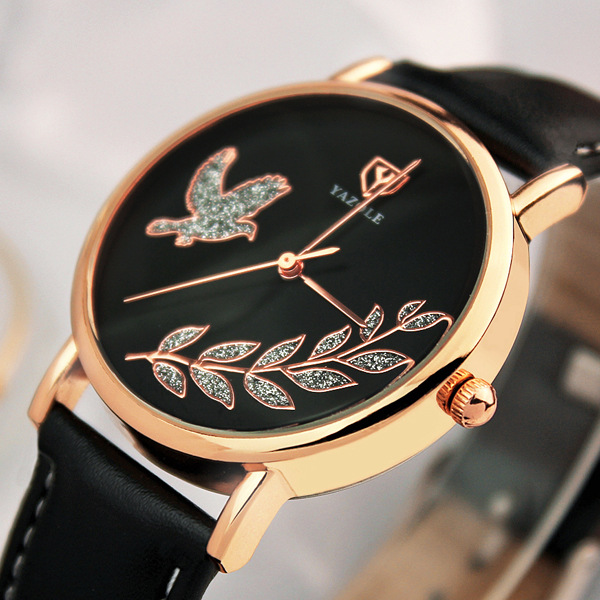 Luxury YAZOLE Brand Rose Gold Bling Pigeon Bird Leather Quartz Wristwatches Wrist Watch Bracelet for Women Ladies No.360 OP001 luxury original yazole brand genuine leather quartz dress wrist watch wristwatches for men women black white no 311