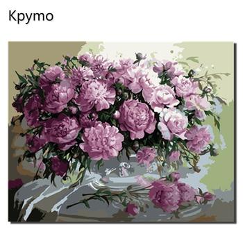 Kpymo DIY Gerahmte Ölgemälde Durch Zahlen Blumen Bilder Leinwand Malerei Für Wohnzimmer Wand Kunst Wohnkultur VA-0347