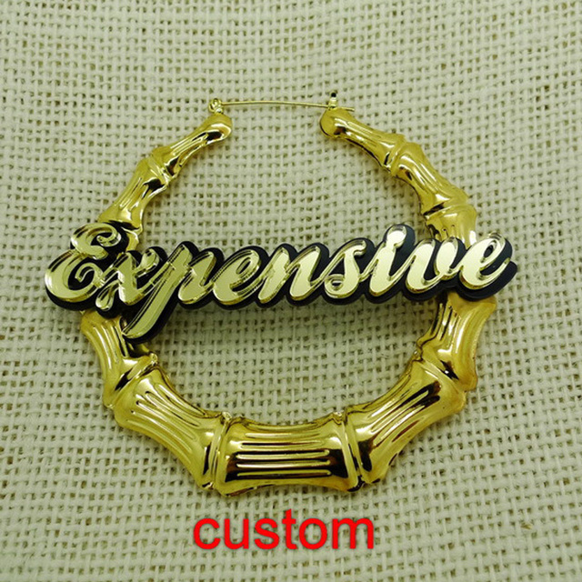 Customize Custom Name Stud Earring Expensive Basketball Wives Bamboo Earrings
