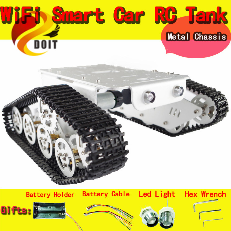 Official DOIT Metal Tank Car Chassis/Robot Chassis for DIY RC tracked Model Crawler Caterpillar Track DIY RC Toy Nodemcu ESP8266 doit cool and new 6wd robot smart car chassis big load large bearing chassis with motor 6v150rpm wheel skid diy rc toy