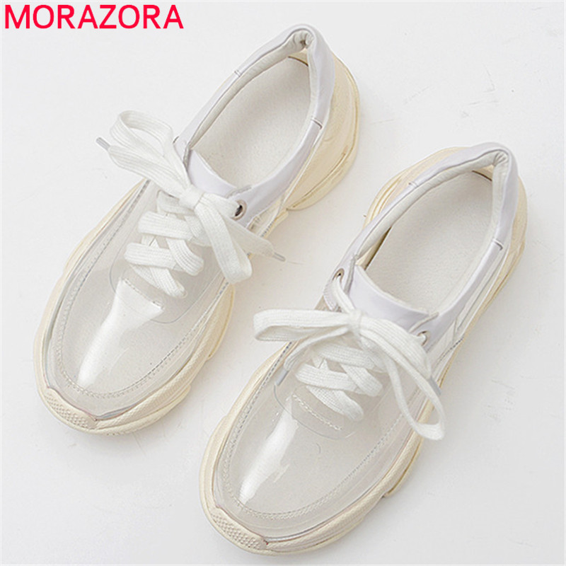 MORAZORA 2019 top quality pvc genuine leather sneaker round toe lace up summer shoes Transparent Street
