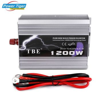 1200W Pure Sine Wave Car Inverter 12V/24V to AC 220V Power Inverter Voltage Converter USB Socket Charger Auto Electronics