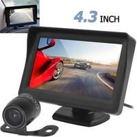 高精細4.3インチtft lcd車のリアビューモニターナイトビジョン駐車リバースカメラ2で1バックミラーカメラモニター装