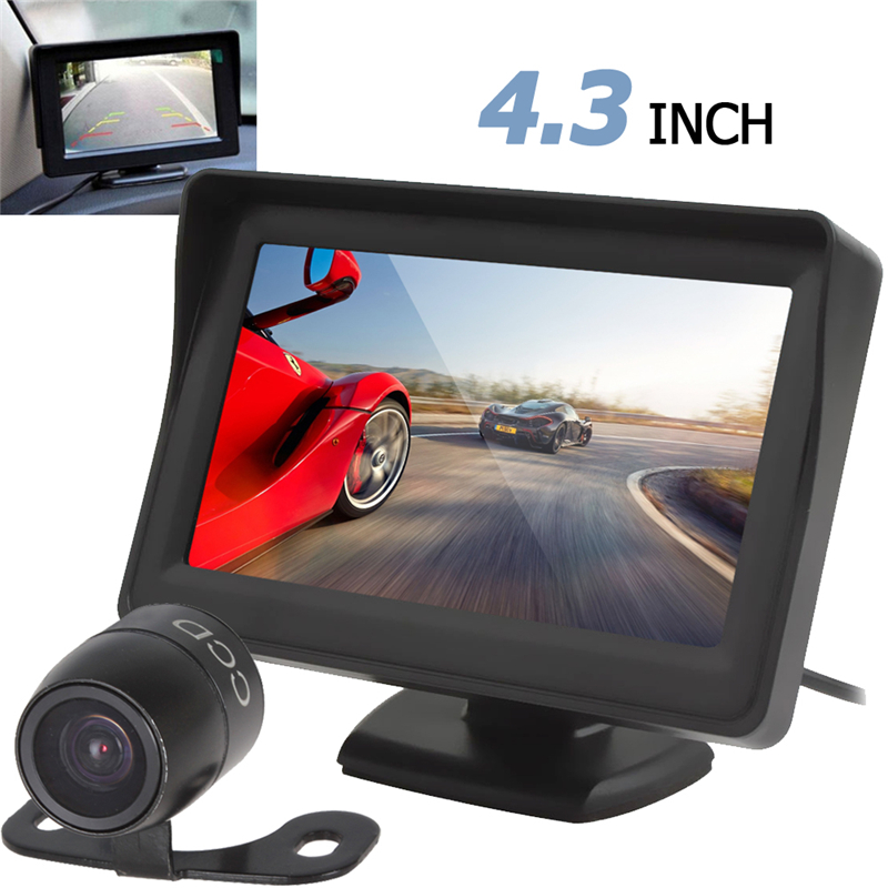 High Definition <font><b>4.3</b></font> <font><b>Inch</b></font> <font><b>TFT</b></font> LCD Car Rear View Monitor Night Vision Parking Reverse Camera 2 in 1 Rearview Camera Monitor Device image