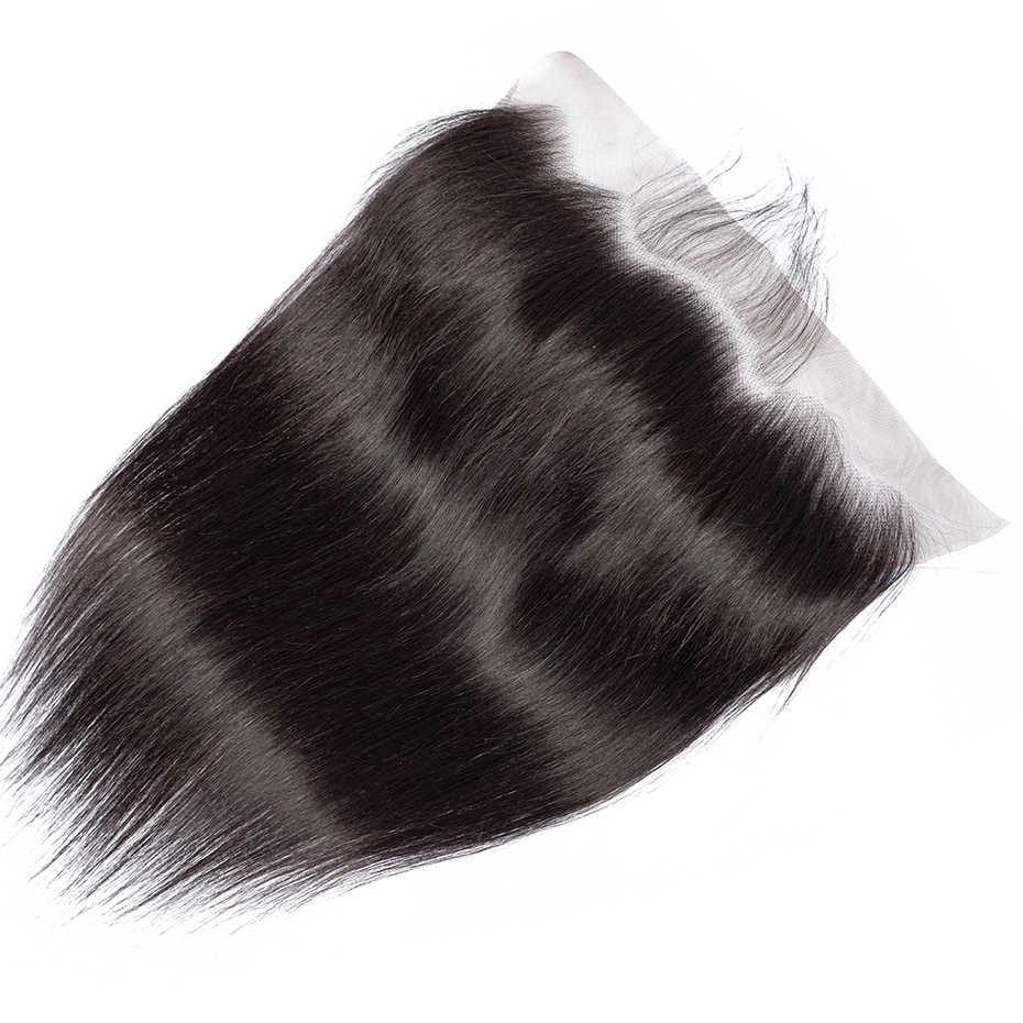 Gabrielle 13x6 фронтальная кружевная предварительно сорванная с волосами младенца 5 шт./партия 8-22 дюймов бразильские Прямые Remy человеческие волосы Кружева Фронтальная
