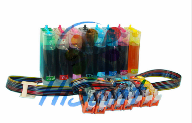 CISS CLI-8 BK/C/M/Y/PC/PM/G/R Refillable ink system For Canon PIXMA PRO 9000 MARK II printer with Auto reset chips CISS arc auto reset chip for hp950 refillable ink cartrige ciss cis 4pcs chips black cyan magenta yellow show ink level