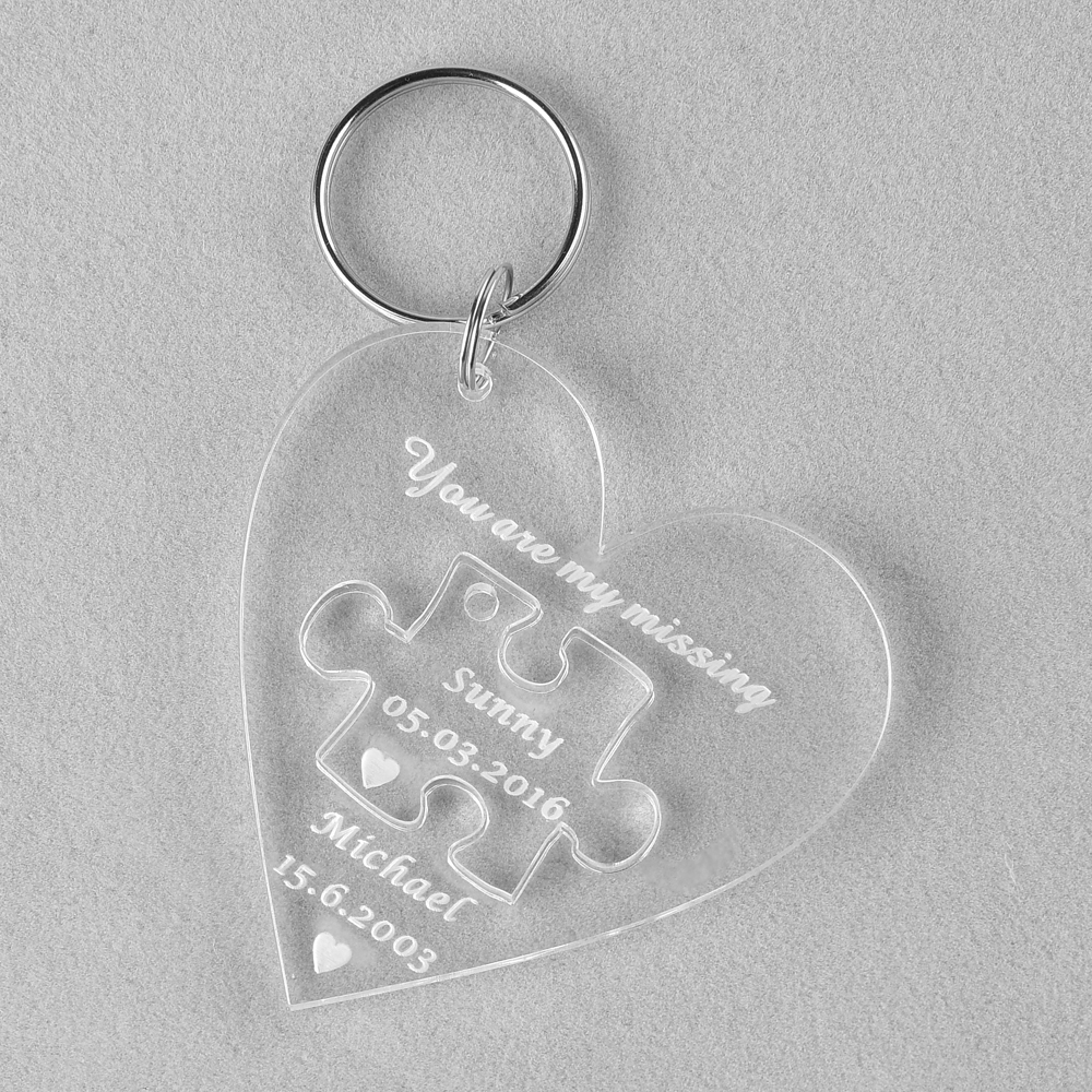 1 Piece Clear Personalized Laser Engraved Keychain Puzzle Love Heart ...