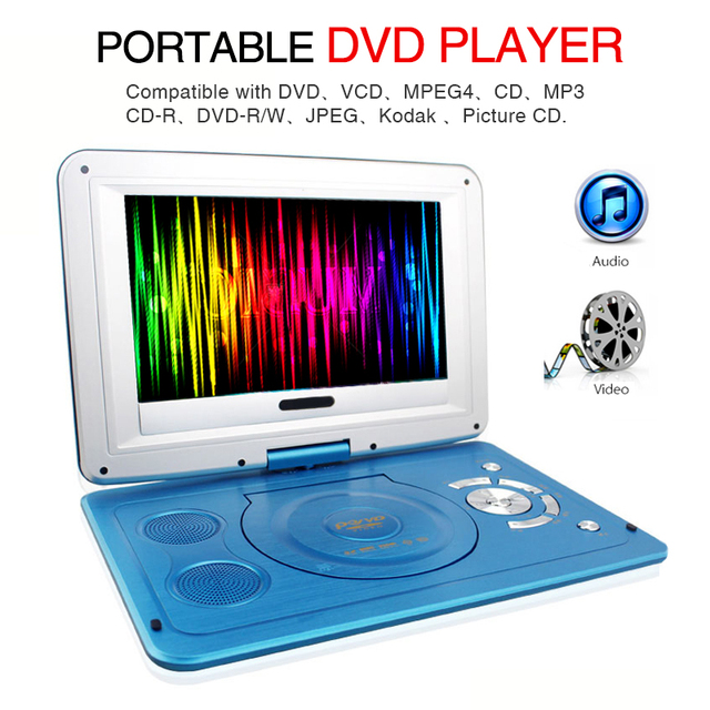 2019 New 14 Inch HD Portable Rotating Screen Smart TV EVD DVD Player Mini TF Card And USB Audio And Video Playback Television 2