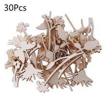 30pcs Laser Cut Wood Embellishment Wooden Rose Shape Craft Wedding Decor