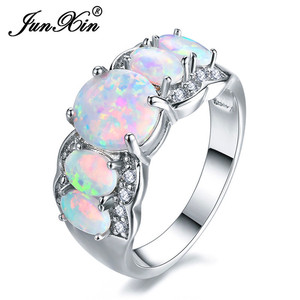 JUNXIN White Gold Filled Luxury Big Oval Stone White Fire Opal Rings For Women Inlay Crystal Rainbow Birthstone Joint Ring(China)