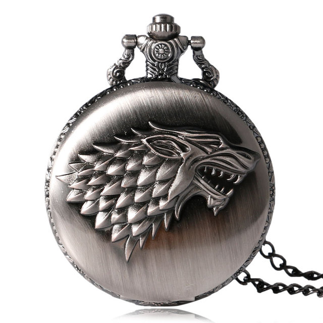 Game of Thrones Stark House Symbol Vintage Pocket Watch Necklace Direwolf Patter