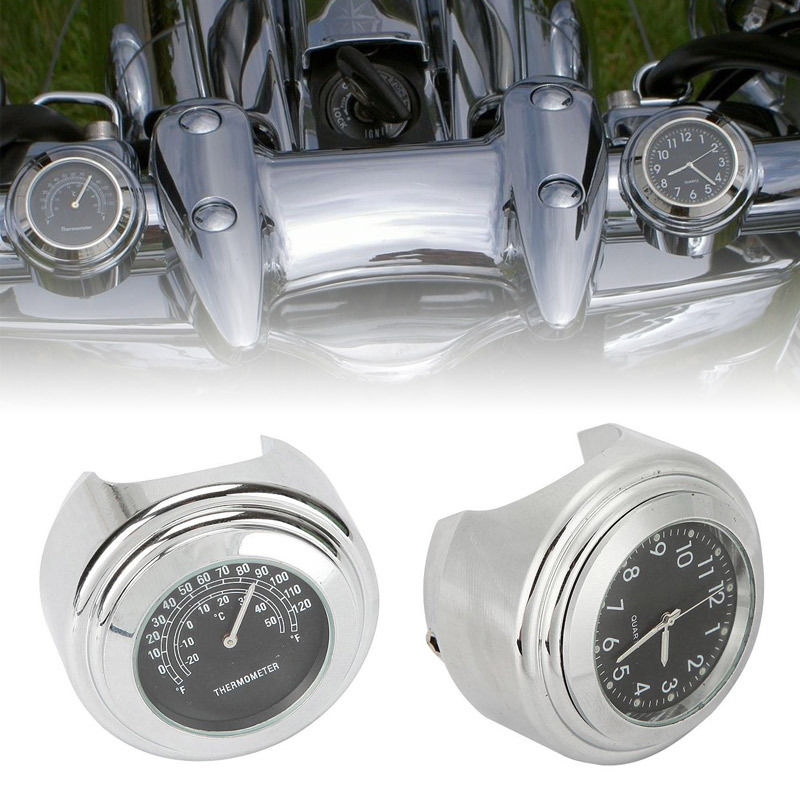 "7//8/"" 1/"" Handlebar Clock Thermometer Fit Harley Dyna Softail Sportster Touring XL"
