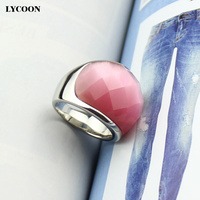 Wholesale and retail 316 L Stainless steel Ring & Fashion luxury jewelry pink cutting cat eye ring in silver color