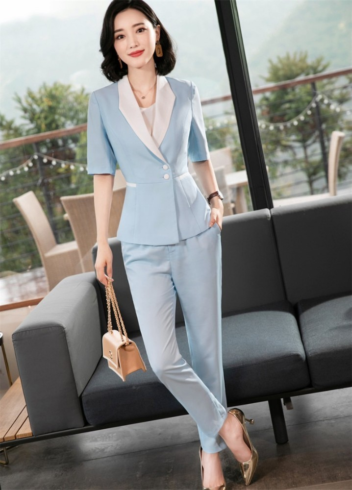 2019 Spring Summer Half Sleeve Formal Women Business Suits With Pants And Tops Professional Pantsuits Blazers Fashion Blue