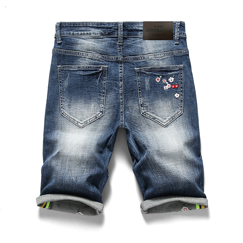 Brand 2018 Summer Plum Blossom Embroidery Casual Jeans Shorts Men Trousers Fashion Distressed Straight Short Denim Mens