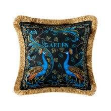 ホーム装飾ソファスロー枕ライト高級レトロ孔雀豪華なソファクッションカバーベッド背もたれカバー枕