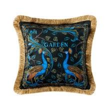 Ev Dekoratif Kanepe Atmak yastık Işık lüks retro tavuskuşu peluş kanepe minder örtüsü yatak arkalığı kapak yastık kılıfı