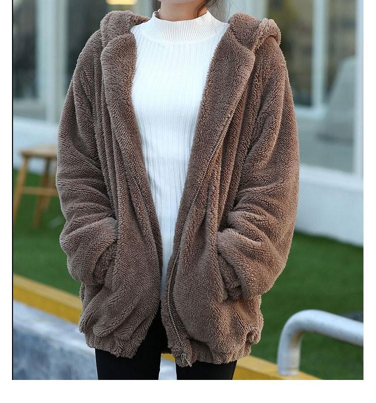 Hot Sprzedaż Kobiety Swetry Zipper Dziewczyna Zima Luźne Puszyste Niedźwiedź Ucha Bluza Z Kapturem Kurtka Warm Odzież Wierzchnia Płaszcz słodkie bluza H1301 5
