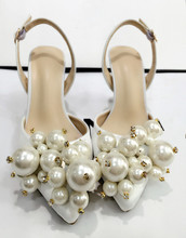 Exquisite Pearl Wedding Shoes White Satin High Heels Pumps all-match Women Banquet Party Dress High Heel Shoes Socialite