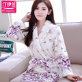 Robes Real Full 2016 Robe Woman Bathrobe Thickened Flannel Coral Long Sleeved Autumn Winter All-match Cute Female New S