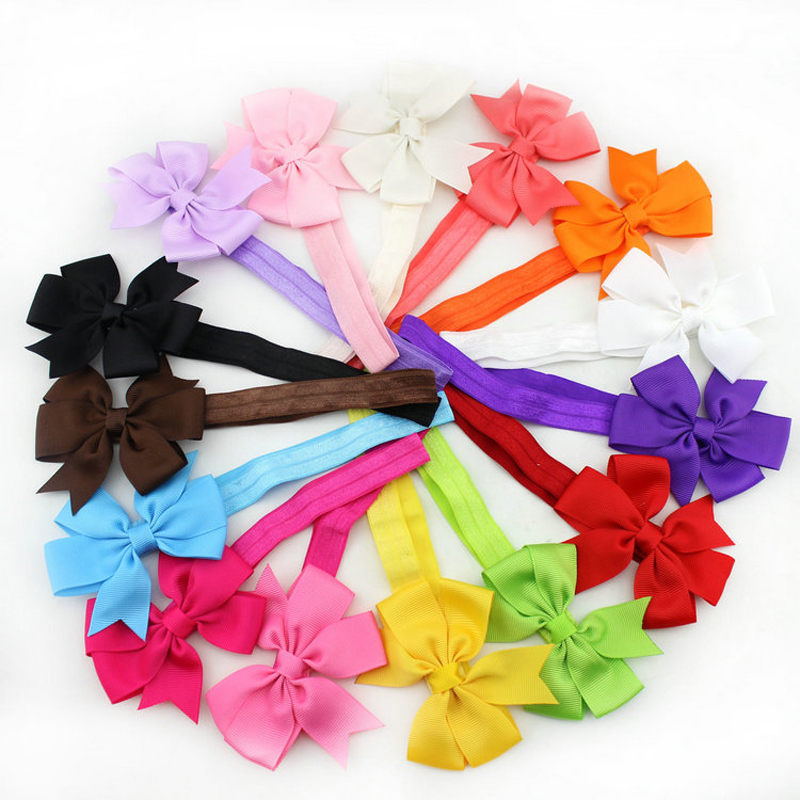 3Inch Girl Hair Band Ribbon Bow Flower Bowknot Headband New born Elastic Hairband Wear Children Newborn Kids Hair Accessories 10pcs lot high quality hair band with grosgrain ribbon flower for girls handmade flower hairbow hairband kids hair accessories