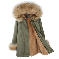 Long Womens Winter Fashion 2018 Jacket Women Fur Coat Jackets Natural Raccoon Fur Parka Real Fur Parkas Cotton Warm Thick Coats