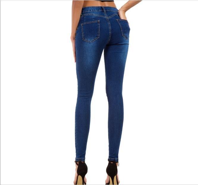 Ripped Denim Jeans Women Blue High Waist Button Zipper Fly Skinny Jeans 2019 Summer Office Streetwear Pants