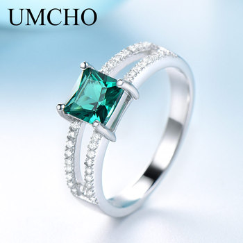 UMCHO Solid 925 Sterling Silver Emerald Rings For Women Wedding Party Anniversary Ring Square Cut Gemstone Jewelry Drop Shipping